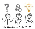thinking. businessman solving a ... | Shutterstock .eps vector #351628937