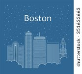 boston landscape for banner.... | Shutterstock .eps vector #351632663