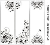 set of banners with ornaments...