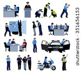 policeman people at office and... | Shutterstock .eps vector #351656153