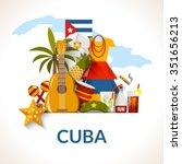 Постер, плакат: Cuban national symbols composition