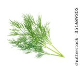 Green Dill Isolated On White...