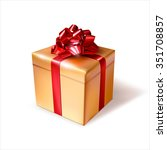golden gift box with red ribbon.... | Shutterstock .eps vector #351708857