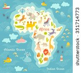 animals world map  africa.... | Shutterstock .eps vector #351714773