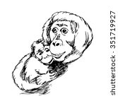 orangutan with a baby | Shutterstock .eps vector #351719927