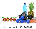 fruit  dumbbells and pet bottle ...   Shutterstock . vector #351743087