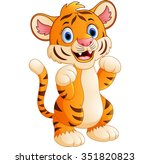 cartoon cute tiger | Shutterstock . vector #351820823
