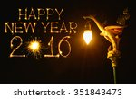 2016 happy new year fireworks... | Shutterstock . vector #351843473