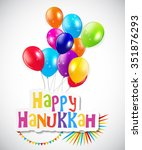 happy hanukkah  jewish holiday... | Shutterstock . vector #351876293