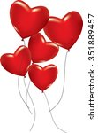 Five Red Hearts As Ballons On...