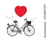 bicycle silhouette and red... | Shutterstock . vector #351894707