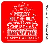 merry christmas card wishes ... | Shutterstock . vector #351943937