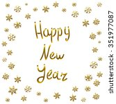 2016 happy new year gold card ... | Shutterstock . vector #351977087