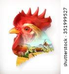 rooster head  double exposure...   Shutterstock .eps vector #351999527