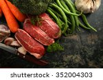 fresh raw beef lamb fillet with ... | Shutterstock . vector #352004303