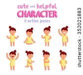 girl vector mascot in 8 action... | Shutterstock .eps vector #352021883