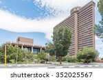 Small photo of BLOEMFONTEIN, SOUTH AFRICA, DECEMBER 16, 2015: The Free State Provincial Government Building (previously CR Swart Building) with revolving restaurant on top and the Sand du Plessis Theater Complex