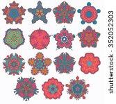 big set of mandalas and...   Shutterstock .eps vector #352052303