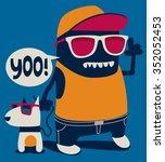 cool monster  dog vector... | Shutterstock .eps vector #352052453