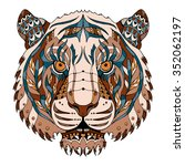 tiger head zentangle stylized ... | Shutterstock .eps vector #352062197