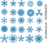 collection of vector snowflakes ... | Shutterstock .eps vector #352066253