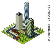 isometric city map. set of... | Shutterstock . vector #352081493