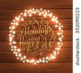 glowing white christmas lights... | Shutterstock .eps vector #352090223