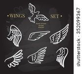 vector doodle wings set. angel... | Shutterstock .eps vector #352099367