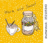 sweet jar and latte illustration | Shutterstock .eps vector #352105343