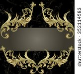 baroque frame with gold damask  | Shutterstock .eps vector #352114583