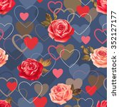 seamless romantic pattern with... | Shutterstock .eps vector #352127177