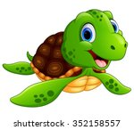 happy sea turtle cartoon | Shutterstock .eps vector #352158557