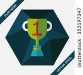 trophy cup flat icon with long...
