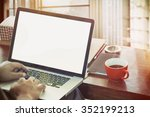 side view of the laptop is on...   Shutterstock . vector #352199213