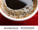 a red cup of tasty coffee ... | Shutterstock . vector #352203203