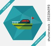 yacht flat icon with long... | Shutterstock .eps vector #352206593