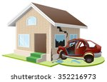 car crashed into house.... | Shutterstock .eps vector #352216973
