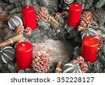 Advent Wreath With Red Candles...