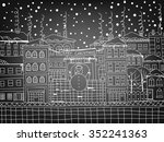 doodle winter town with snowman ... | Shutterstock .eps vector #352241363