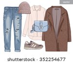 lady fashion set of autumn... | Shutterstock .eps vector #352254677