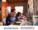 designers working at desks in... | Shutterstock . vector #352309853