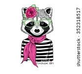 Raccoon Girl Portrait In Strip...