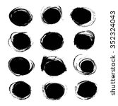 black circles from textured... | Shutterstock .eps vector #352324043