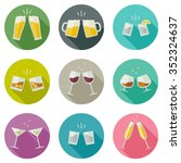 Clink Glasses Icons. Glasses...