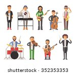 Постер, плакат: Musicians people flat vector
