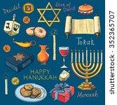 hanukkah traditional jewish... | Shutterstock . vector #352365707