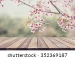 empty top wooden table and... | Shutterstock . vector #352369187