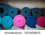 group of rolled colorfull yoga... | Shutterstock . vector #352404833