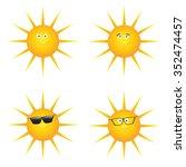 set of funny smiling sun....   Shutterstock .eps vector #352474457