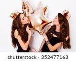 two joyful pretty friends... | Shutterstock . vector #352477163